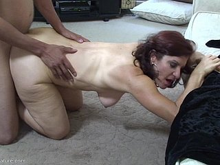 Saggy mature chest bouncing around as A slay rub elbows with young gentleman rides cock